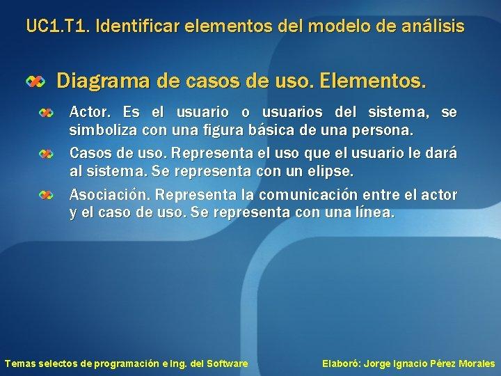 UC 1. T 1. Identificar elementos del modelo de análisis Diagrama de casos de