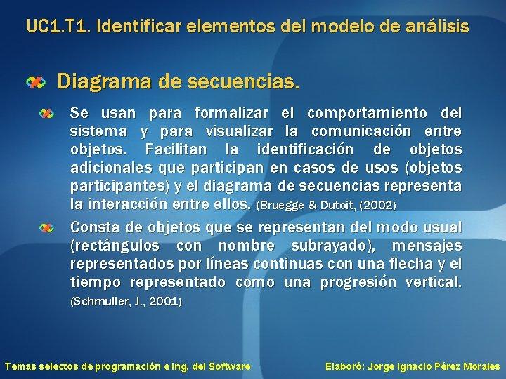 UC 1. T 1. Identificar elementos del modelo de análisis Diagrama de secuencias. Se