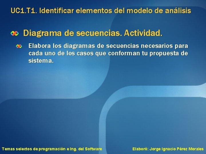 UC 1. T 1. Identificar elementos del modelo de análisis Diagrama de secuencias. Actividad.