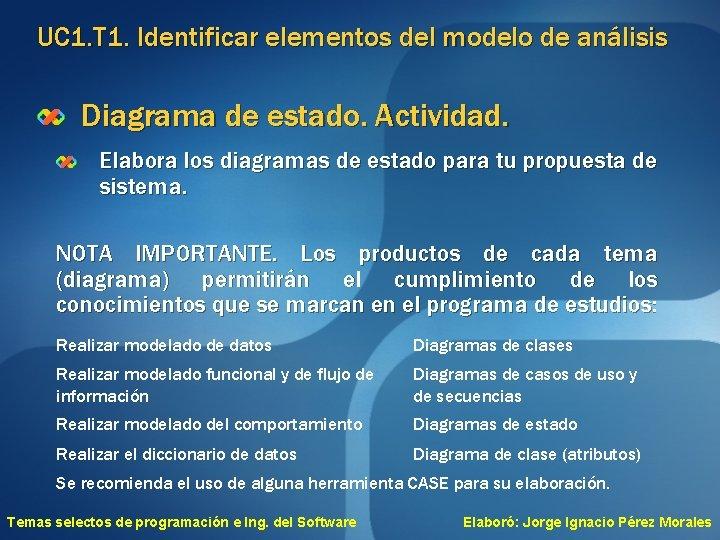 UC 1. T 1. Identificar elementos del modelo de análisis Diagrama de estado. Actividad.