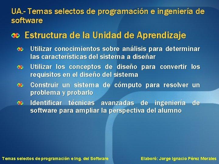 UA. - Temas selectos de programación e ingeniería de software Estructura de la Unidad