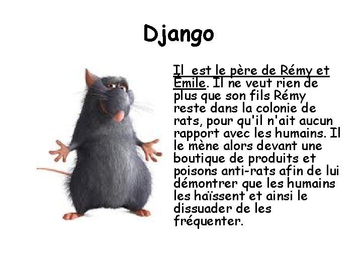 Django Il est le père de Rémy et Émile. Il ne veut rien de