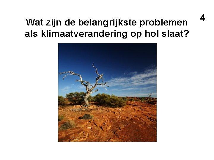 Wat zijn de belangrijkste problemen als klimaatverandering op hol slaat? 4