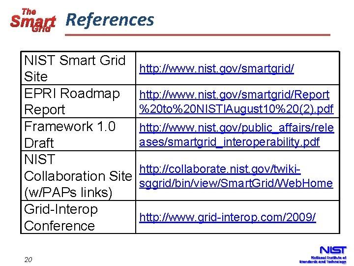 The Smart Grid References NIST Smart Grid Site EPRI Roadmap Report Framework 1. 0