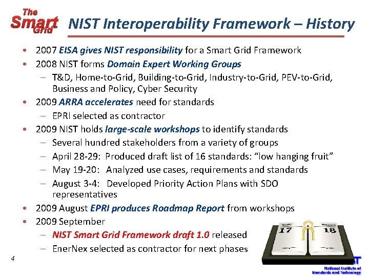 The Smart NIST Interoperability Framework – History Grid 4 • 2007 EISA gives NIST