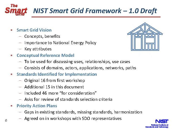 The Smart NIST Smart Grid Framework – 1. 0 Draft Grid 6 • Smart