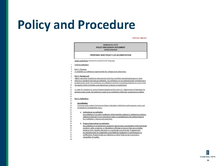 Policy and Procedure 11