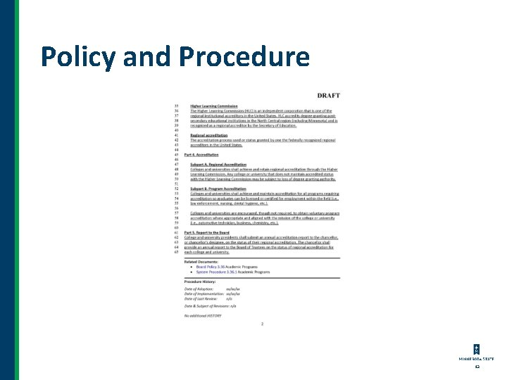 Policy and Procedure 12