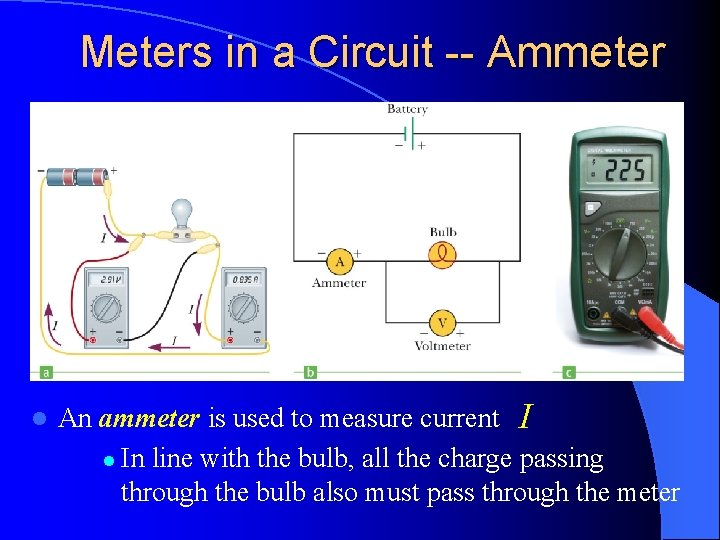 Meters in a Circuit -- Ammeter l An ammeter is used to measure current