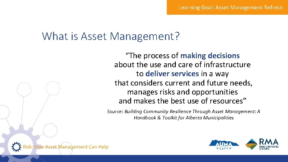 """Learning Goal: Asset Management Refresh What is Asset Management? """"The process of making decisions"""