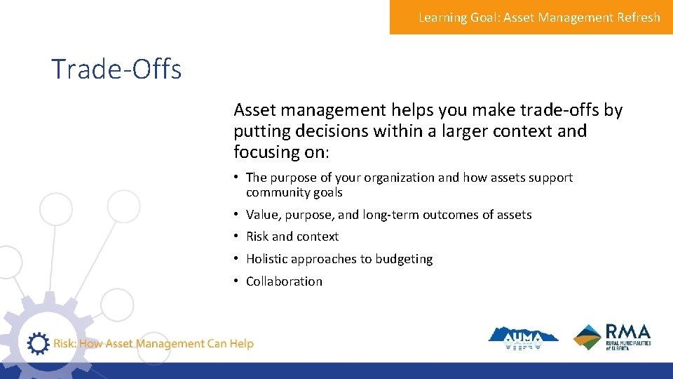Learning Goal: Asset Management Refresh Trade-Offs Asset management helps you make trade-offs by putting