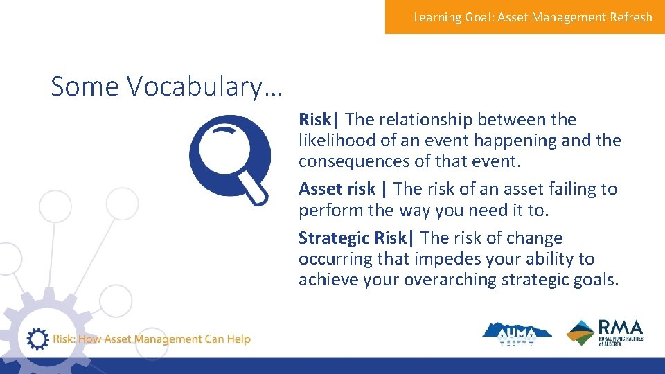 Learning Goal: Asset Management Refresh Some Vocabulary… Risk  The relationship between the likelihood of