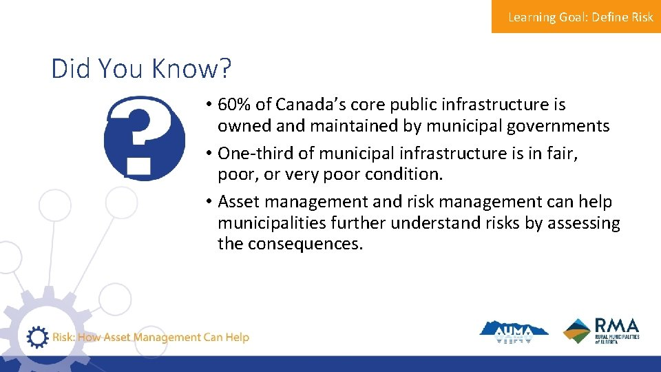 Learning Goal: Define Risk Did You Know? • 60% of Canada's core public infrastructure