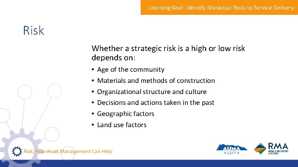 Learning Goal: Identify Municipal Risks to Service Delivery Risk Whether a strategic risk is