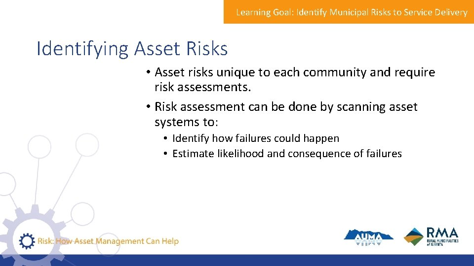 Learning Goal: Identify Municipal Risks to Service Delivery Identifying Asset Risks • Asset risks