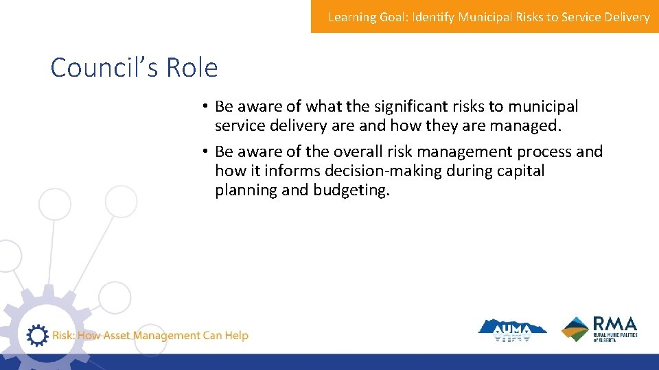 Learning Goal: Identify Municipal Risks to Service Delivery Council's Role • Be aware of