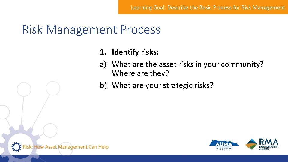 Learning Goal: Describe the Basic Process for Risk Management Process 1. Identify risks: a)