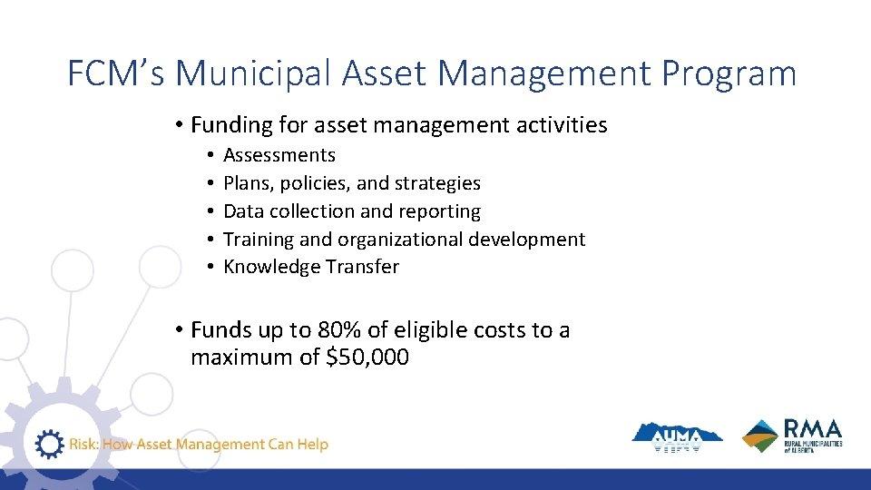 FCM's Municipal Asset Management Program • Funding for asset management activities • • •