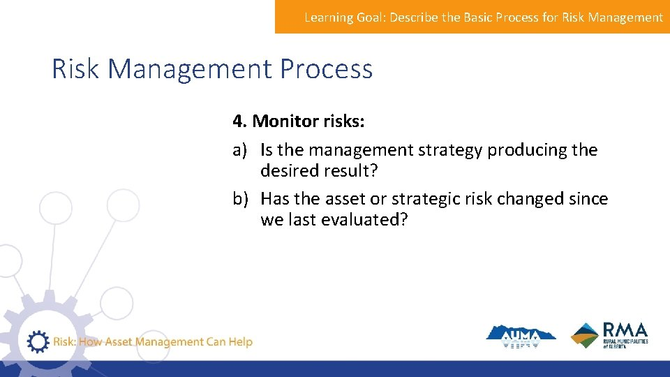 Learning Goal: Describe the Basic Process for Risk Management Process 4. Monitor risks: a)
