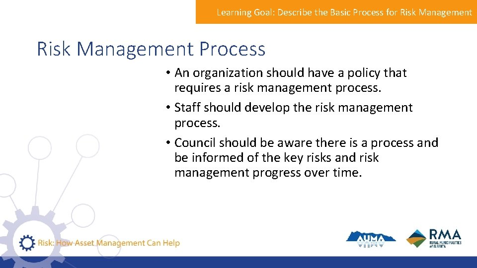 Learning Goal: Describe the Basic Process for Risk Management Process • An organization should