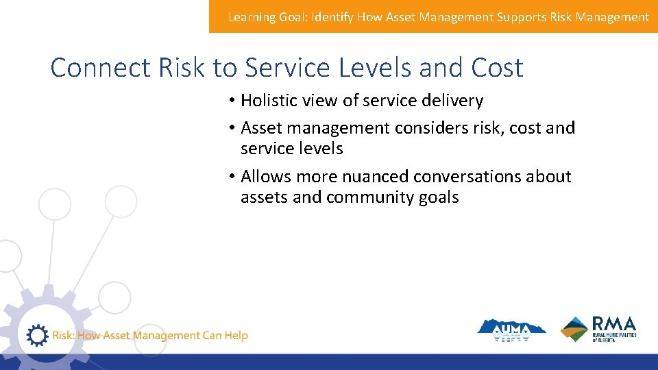 Learning Goal: Identify How Asset Management Supports Risk Management Connect Risk to Service Levels