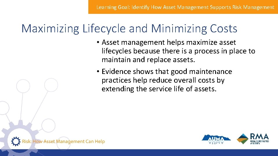 Learning Goal: Identify How Asset Management Supports Risk Management Maximizing Lifecycle and Minimizing Costs