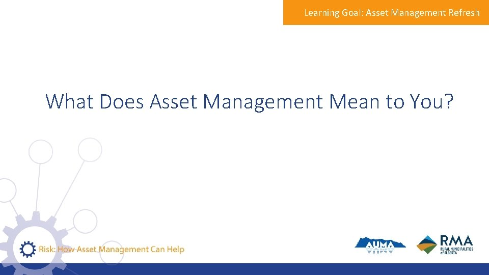 Learning Goal: Asset Management Refresh What Does Asset Management Mean to You?