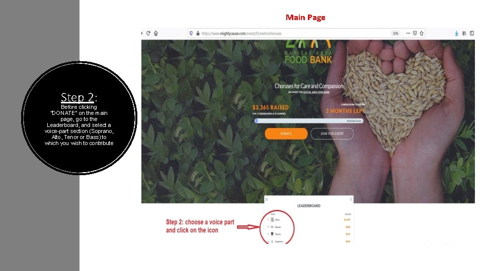 """Main Page Step 2: Before clicking """"DONATE"""" on the main page, go to the"""