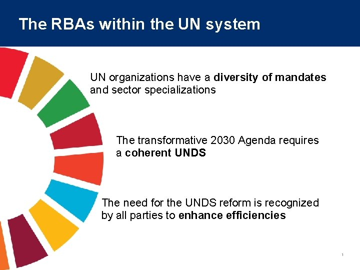 The RBAs within the UN system UN organizations have a diversity of mandates and
