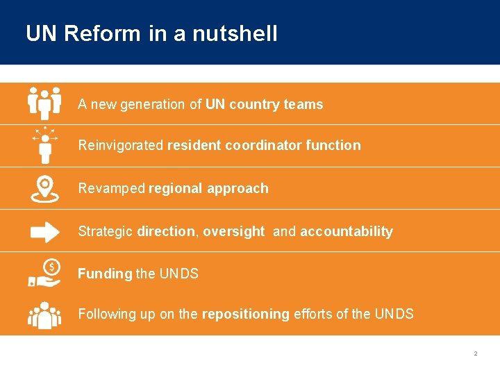 UN Reform in a nutshell A new generation of UN country teams Reinvigorated resident
