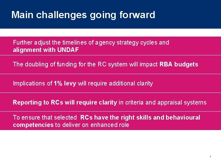 Main challenges going forward Further adjust the timelines of agency strategy cycles and alignment