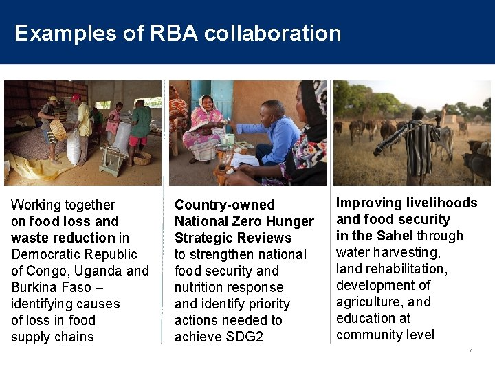 Examples of RBA collaboration Working together on food loss and waste reduction in Democratic