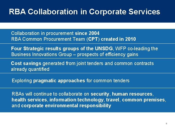 RBA Collaboration in Corporate Services Collaboration in procurement since 2004 RBA Common Procurement Team