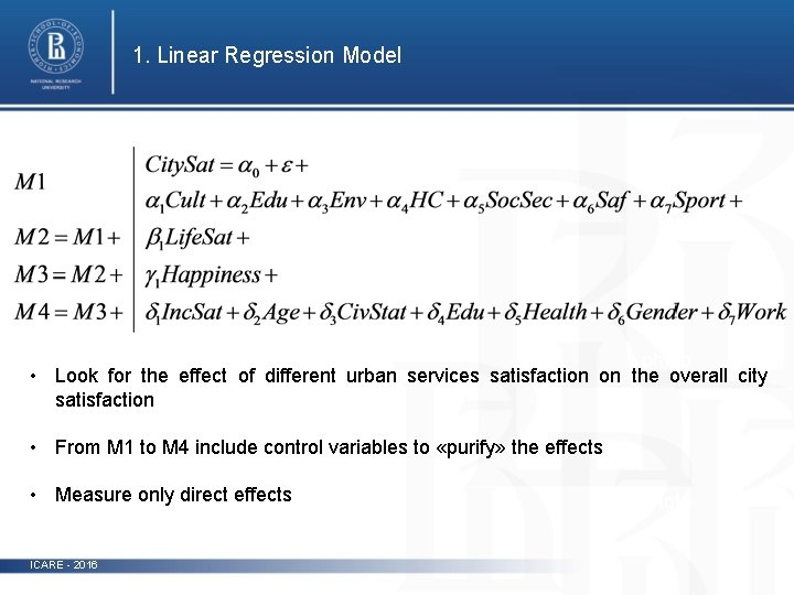 1. Linear Regression Model photo • Look for the effect of different urban services