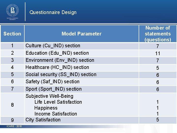 Questionnaire Design Section 1 2 3 4 5 6 7 8 9 ICARE -