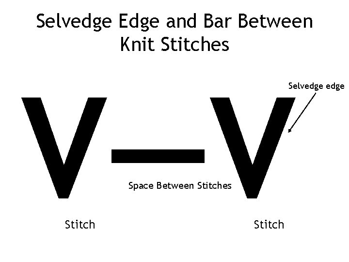 Selvedge Edge and Bar Between Knit Stitches V—V Selvedge Space Between Stitches Stitch