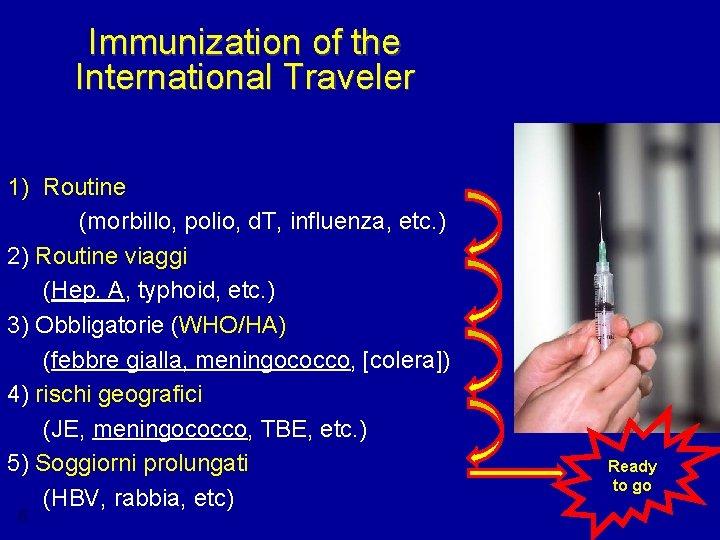 Immunization of the International Traveler 1) Routine (morbillo, polio, d. T, influenza, etc. )