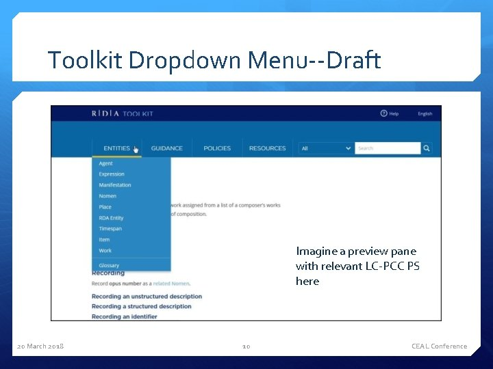 Toolkit Dropdown Menu--Draft Imagine a preview pane with relevant LC-PCC PS here 20 March