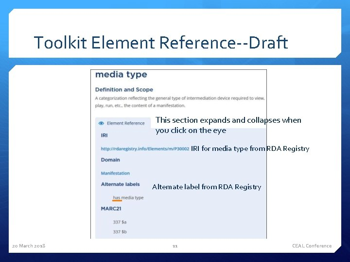 Toolkit Element Reference--Draft This section expands and collapses when you click on the eye