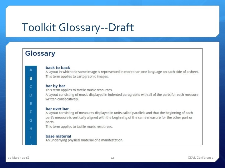 Toolkit Glossary--Draft 20 March 2018 12 CEAL Conference