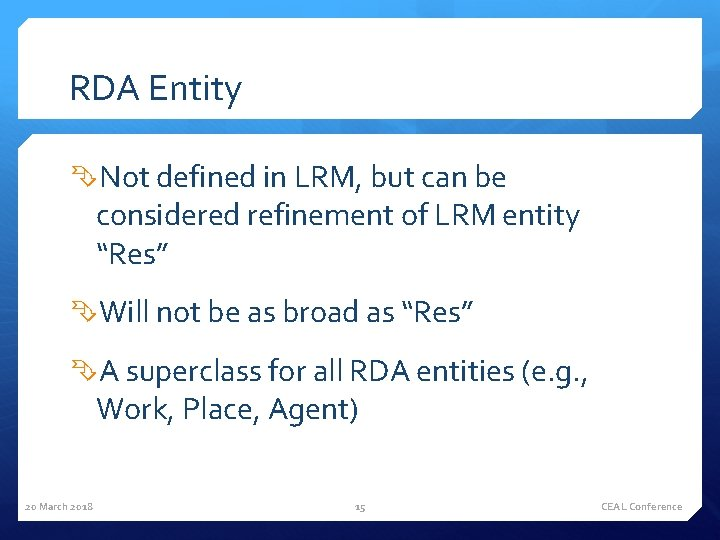 RDA Entity Not defined in LRM, but can be considered refinement of LRM entity
