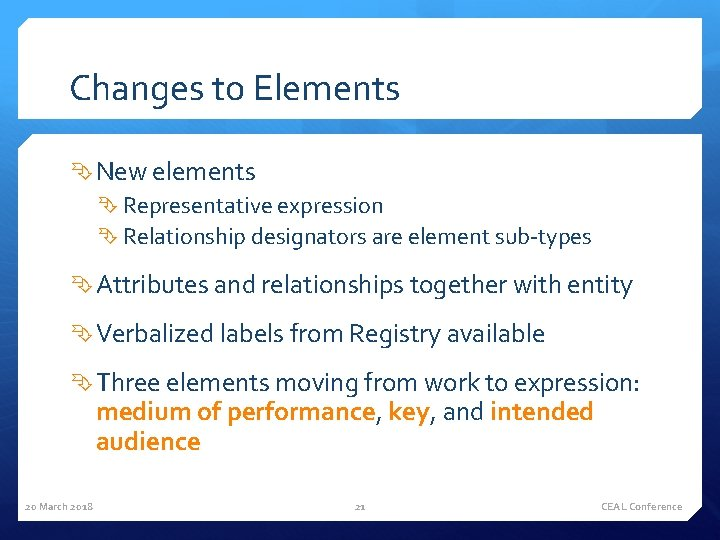 Changes to Elements New elements Representative expression Relationship designators are element sub-types Attributes and