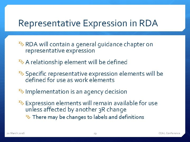 Representative Expression in RDA will contain a general guidance chapter on representative expression A