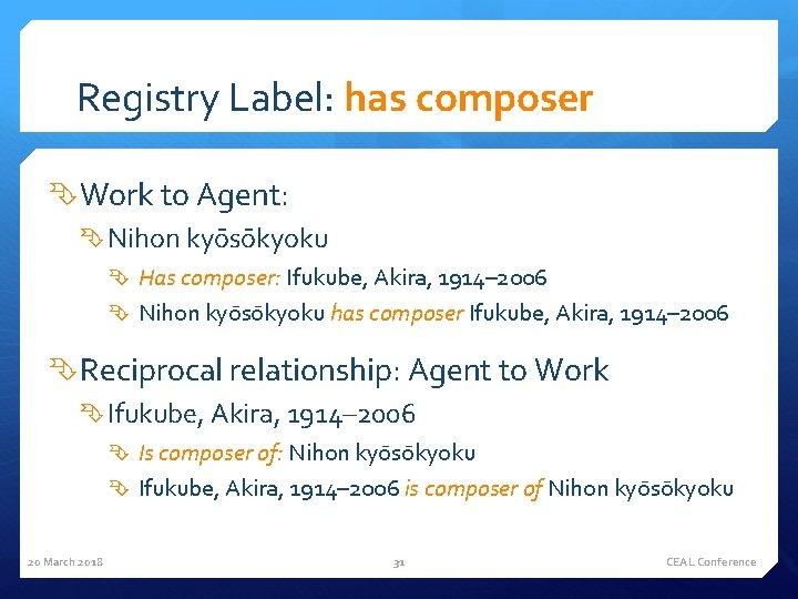 Registry Label: has composer Work to Agent: Nihon kyo so kyoku Has composer: Ifukube,