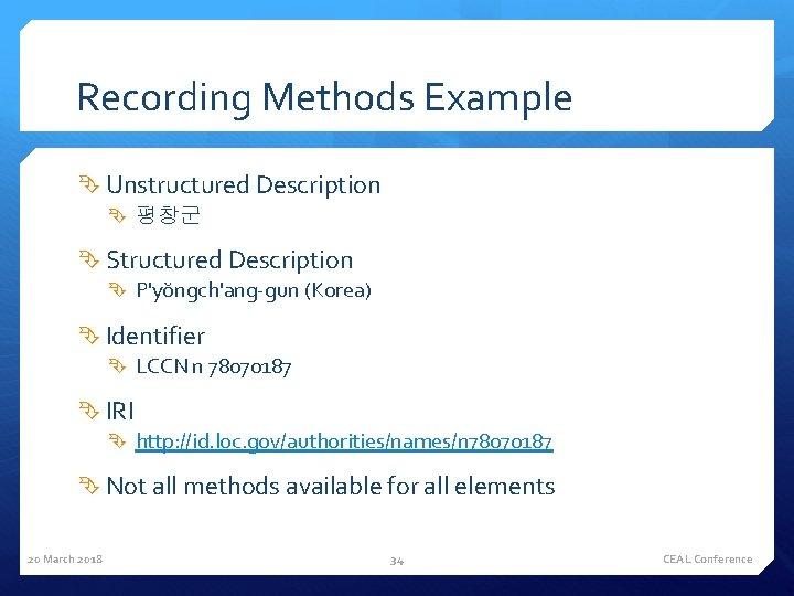 Recording Methods Example Unstructured Description 평창군 Structured Description P'yŏngch'ang-gun (Korea) Identifier LCCN n 78070187