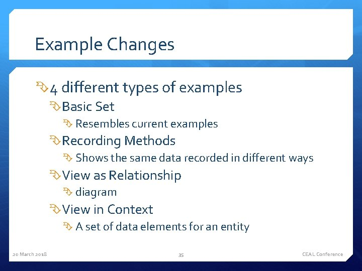 Example Changes 4 different types of examples Basic Set Resembles current examples Recording Methods