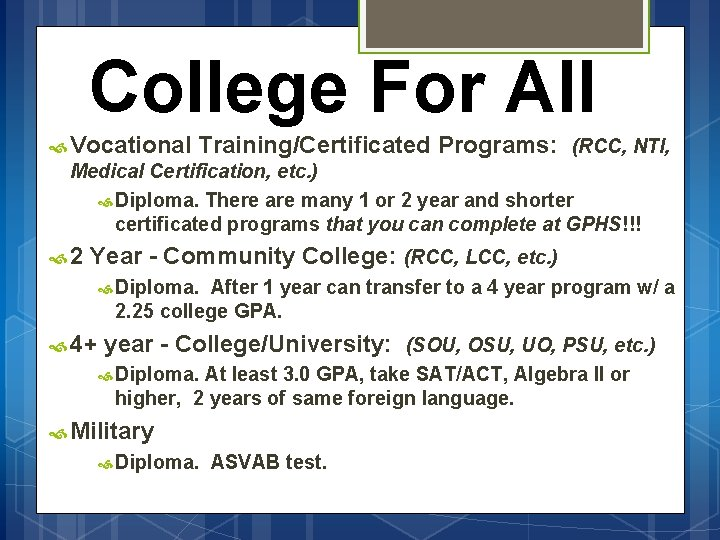 College For All Vocational Training/Certificated Programs: (RCC, NTI, Medical Certification, etc. ) Diploma. There