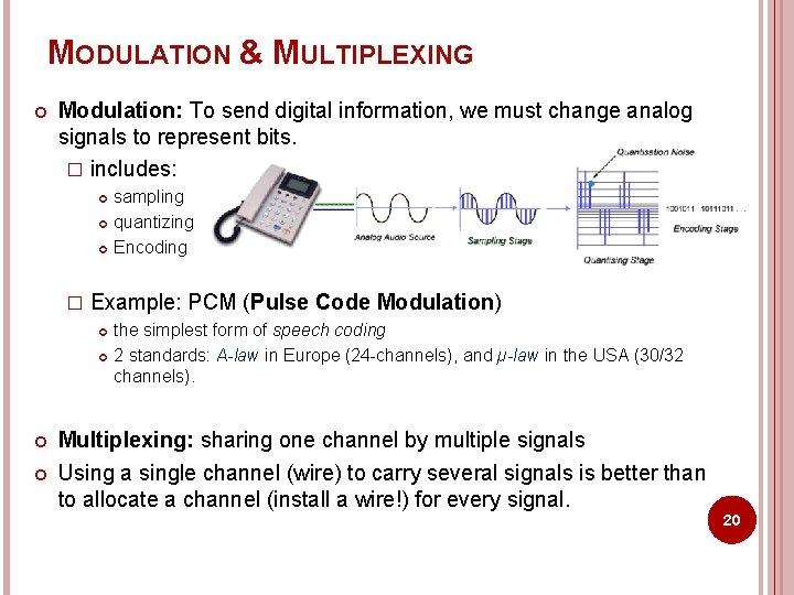MODULATION & MULTIPLEXING Modulation: To send digital information, we must change analog signals to