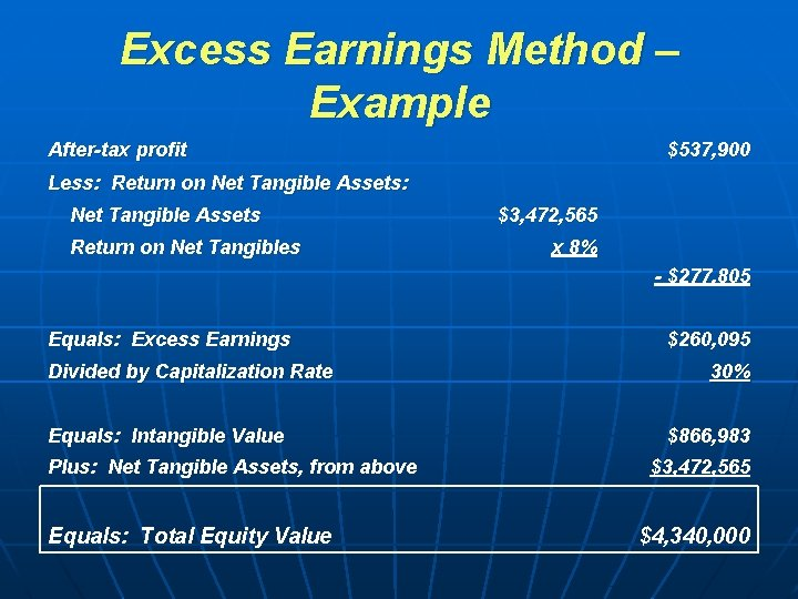 Excess Earnings Method – Example After-tax profit $537, 900 Less: Return on Net Tangible