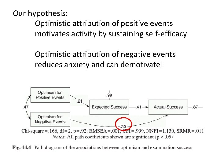 Our hypothesis: Optimistic attribution of positive events motivates activity by sustaining self-efficacy Optimistic attribution